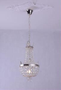 Lustre-cristaux-chandelier-Panier-Lustre-en-cristal-vintage-argente-laiton