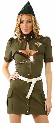 Hot & Sexy Adult Women Army Uniform Costume Halloween Fashion Outfit Dress Set