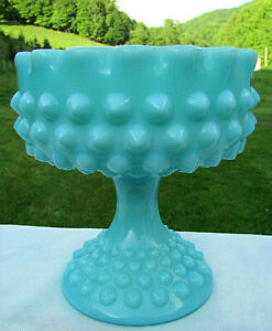 FENTON-TURQUOISE-BLUE-MILK-GLASS-HOBNAIL-PEDESTAL-RUFFLE-CANDY-DISH