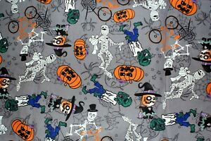 NEW-Halloween-Print-Scrub-Top-5X-Gray-Goblins