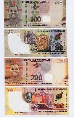 2018,SET Swaziland,2 banknotes set 100//200 Lilangeni in UNC condition P New