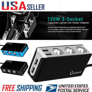 12V-Car-Cigarette-Lighter-Power-Splitter-4-USB-Charger-Ports-3-Sockets-Adapter