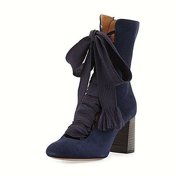 1290.00 Chloe Harper Lace-Up 70mm Bootie bluee Lagoonsz US 8   EU 38
