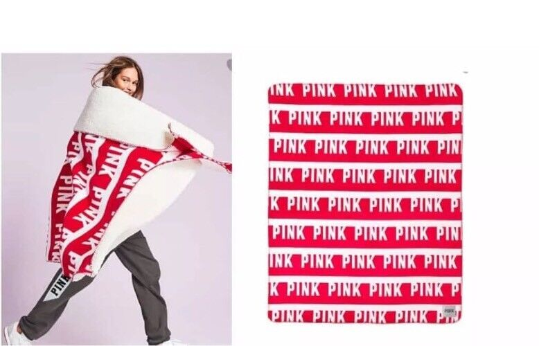 Victoria's Secret PINK Graphic Sherpa Blanket NIP VS PINK LIMITED EDITION