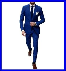 Vestiti Eleganti Estivi Uomo.Dettagli Su Abito Abiti Da Uomo Slim Fit Vestito Cerimonia Elegante Blu Estivo 48 52 54 58