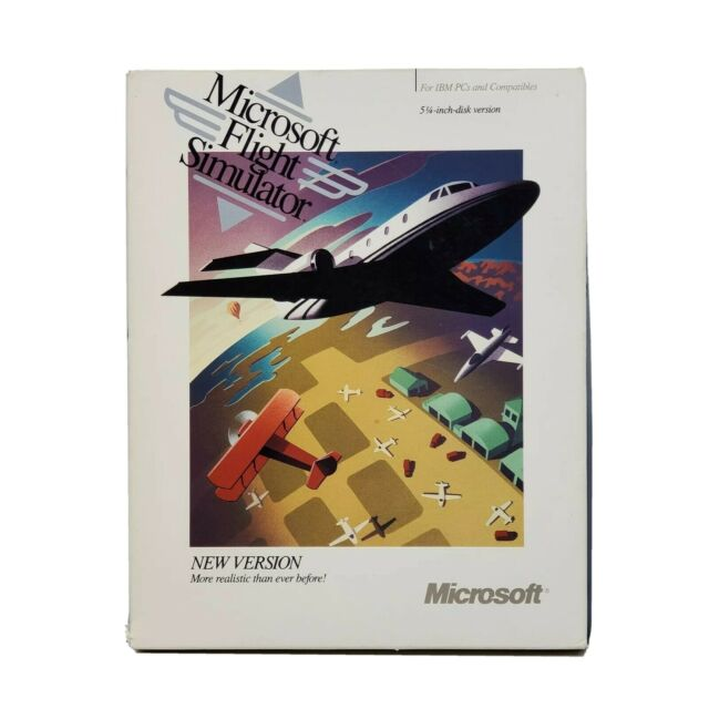 "1989 Microsoft Flight Simulator 5.25"" Floppy Disk Version 4.0 for DOS Vintage"