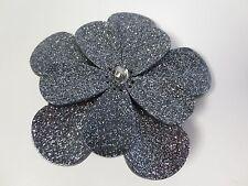 PONO by Joan Goodman Metallic Black Layered Resin Flower Brooch Pin NIP $125