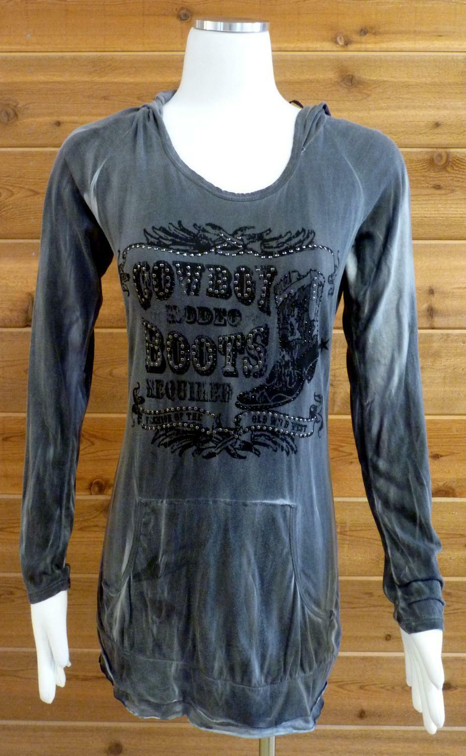 Vocal Hoodie  Cowboy Boot Boot Boot w Spur Design, Bling   - Sz MED 290eaa