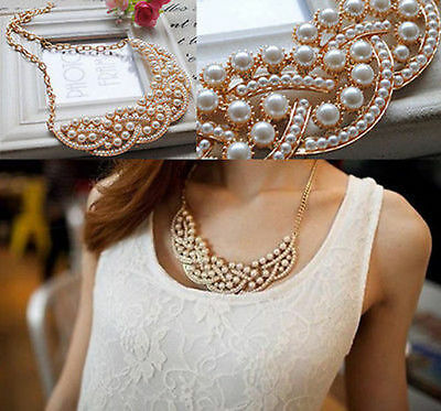 New Fashion Women Pearl Hollow Gold Choker Bib Collar Statement Necklace Pendant