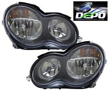 2001-2007 Mercedes Benz C-Class Sedan W203 Black Head Lights OE Style DEPO