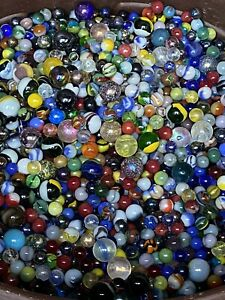 Mixed Lot 40+ Assorted Old Vintage To Modern Colorful Glass Marbles GREAT MIX