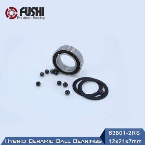 1 PC 63801 RS Hybrid Ceramic Bearing  12*21*7 mm  ABEC-1 Si3N4 Ball Bearings