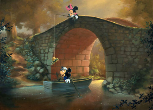 Fishing on bridge canvas Dream-art Cartoon Oil painting abstract Hooked on You