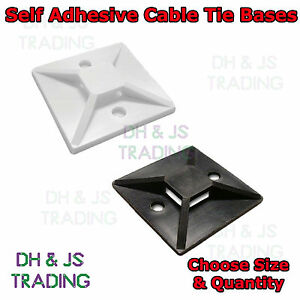 19mm 28mm Self Adhesive Stick On Cable Tie Wire Base Mounts Black White Sticky