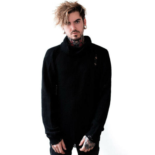 Seven Schwarz Killstar Gothic Goth Okkult Unisex Strickpullover Pullover