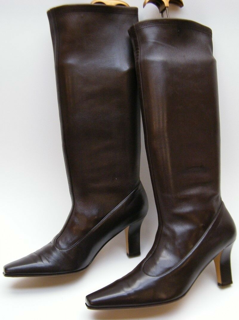 SALVATORE FERRAGAMO BROWN LEATHER KNEE HIGH HEEL 7 STRETCH FASHION Stiefel SZ 7 HEEL B 7B b75ff1