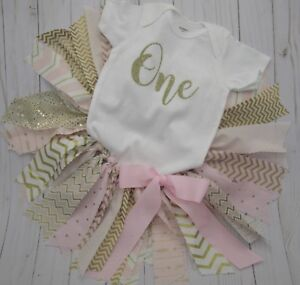 """Pink /& Gold /""""One/"""" /""""Wild One/"""" First 1st Birthday Girl Outfit"""