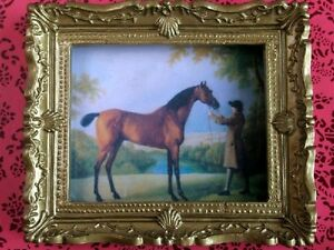 Analytique Ornate Gold Encadrée Photo D'un Cheval, Maison De Poupées Miniature, 1.12th échelle-afficher Le Titre D'origine Ventes Pas ChèRes 50%