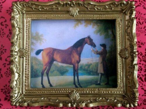 1.12th échelle Ornate gold encadrée photo d/'un cheval maison de poupées miniature