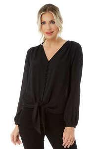Roman-Originals-Women-039-s-Button-Tie-Front-Blouse-Ladies-Tops