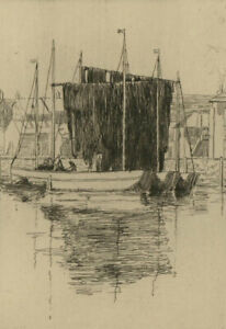 Early 20th Century Etching - Nets Drying, Cornwall