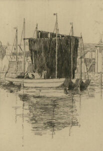 Early-20th-Century-Etching-Nets-Drying-Cornwall