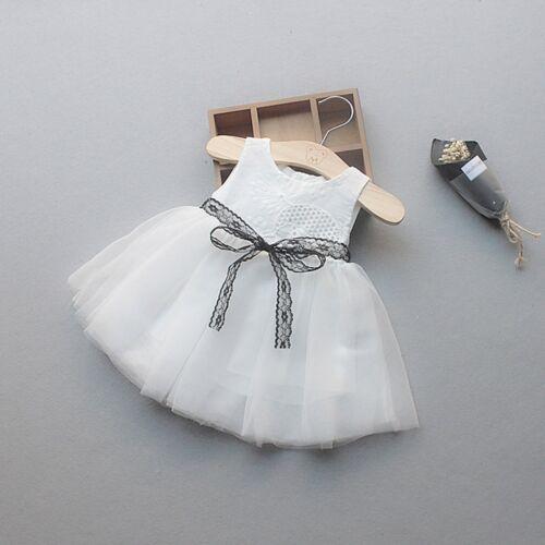 Summer Newborn Baby Girls Button Bow Lace Net Yarn Princess Tutu Dress Clothes
