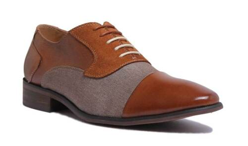 Justin Reece Curt Mens Tan Leather Oxford Lace up Canvas Shoe Size UK 6-12