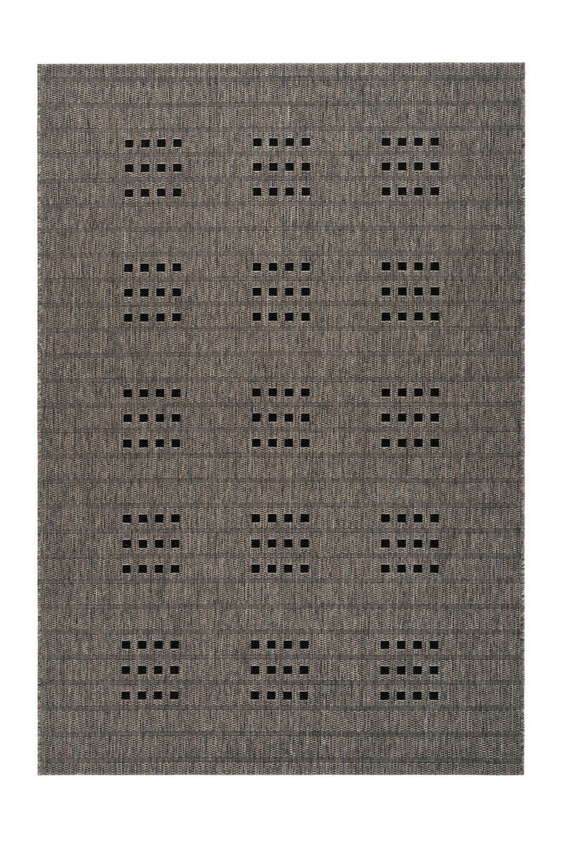 Moderne Tapis Sisal Points Carrés Design Structure Taupe Beige 200x290cm