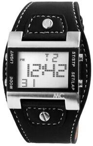 MC-Timetrend-Germany-Herrenuhr-Schwarz-Silber-Digital-Datum-Kunst-Leder-X30337