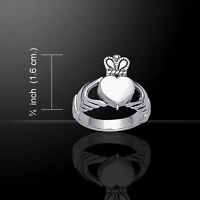 Irish Claddagh Celtic Knot .925 Sterling Silver Poison Ring By Peter Stone