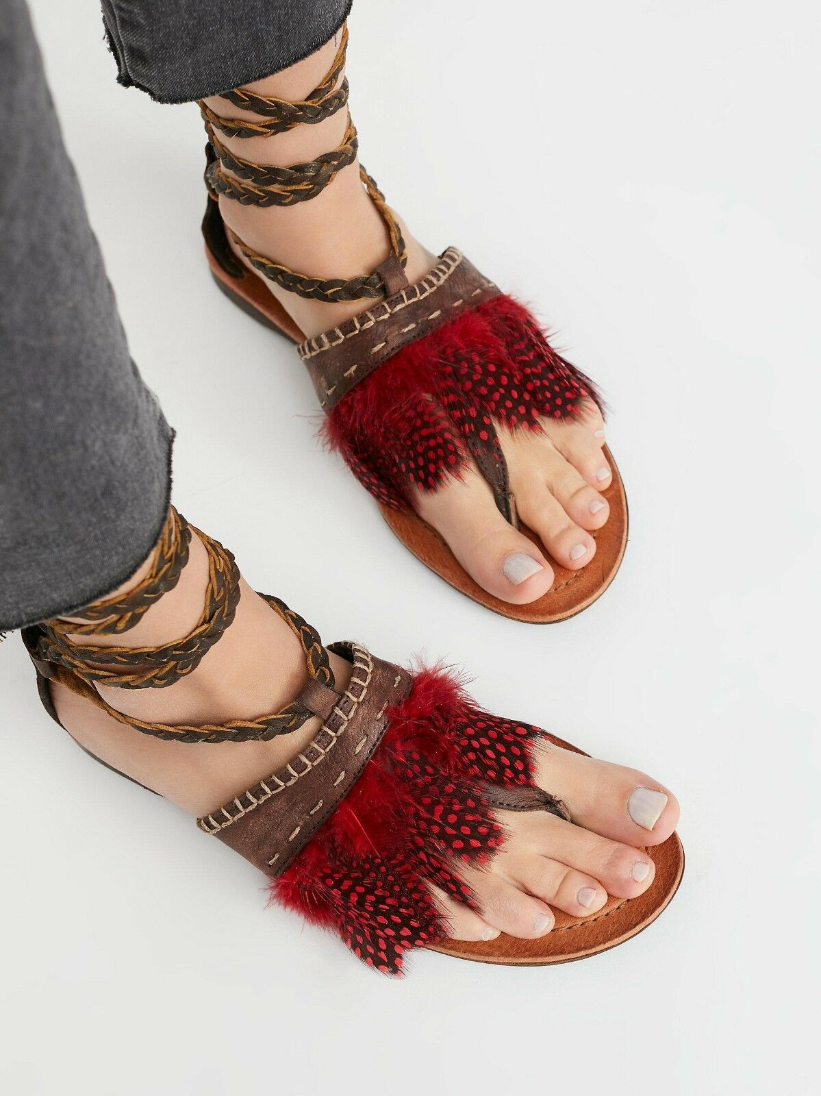Free People Bora Bora Tie Sandals Braided Brown Leather Red Feathers Size 37 New