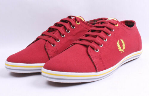 Fred Perry Kingston Twill Tipped # B3176 A25 Chaussures De Loisirs Rouge Vif 10.5-12