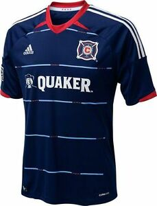 new styles 68529 39a87 Details about NEW ADIDAS Men Chicago Fire Away Soccer Football Jersey Shirt  Navy Blue MLS