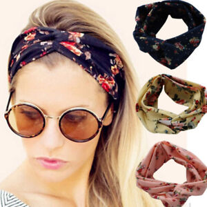 Women-Girls-Yoga-Elastic-Turban-Floral-Twisted-Knotted-Hair-Band-Headband-NEW