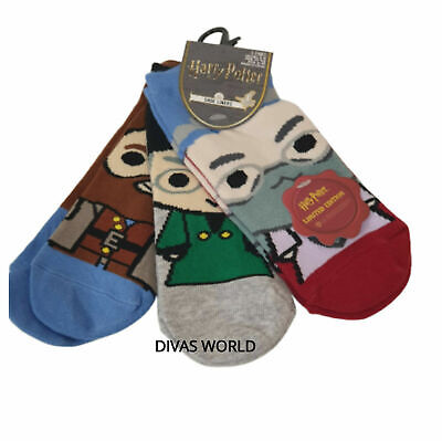 New HARRY POTTER 3 Pack Christmas Ankle Socks Shoe Liners Womens Girls Sz 4-8