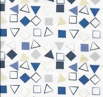 Fat Quarter Navy Blue White Quatrefoil Cotton Fabric  Quilting Remnant