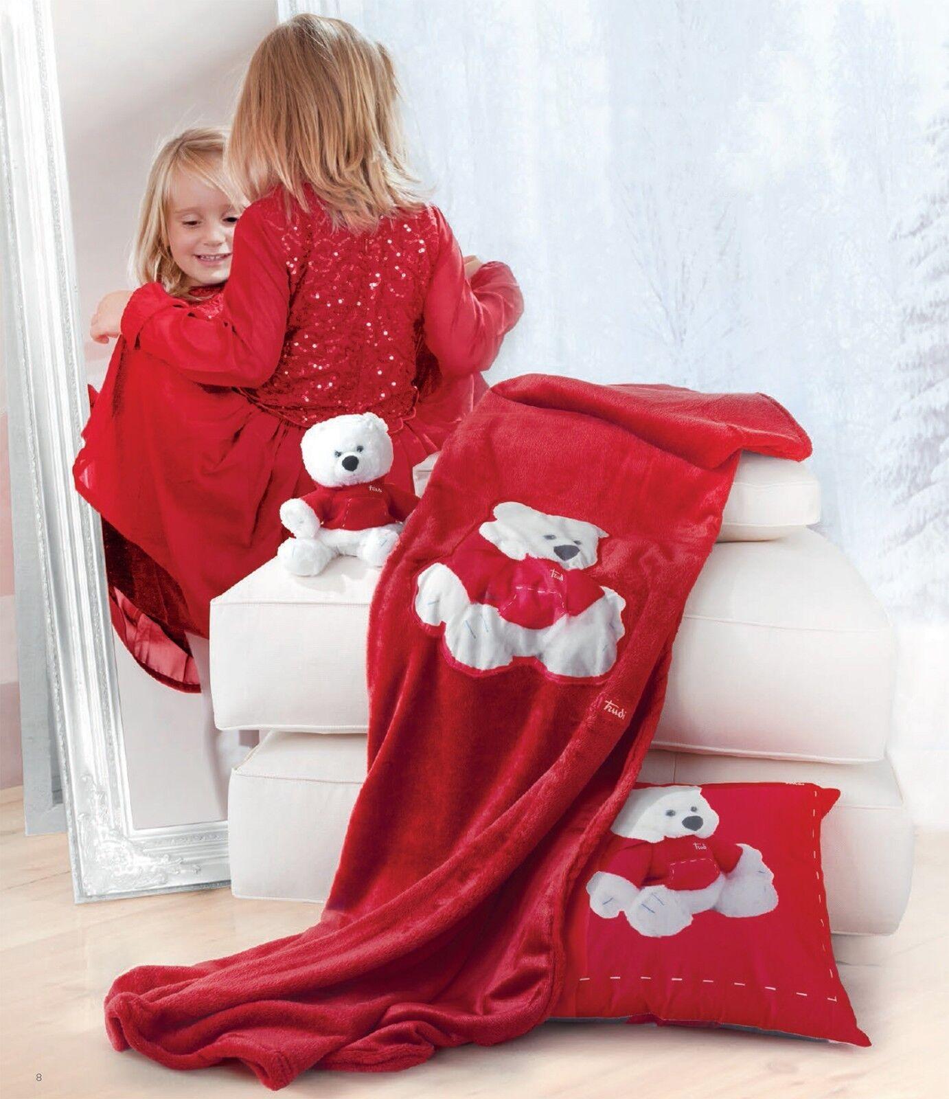 """Plaid pile coperta letto Trudi """"Wish"""" cm bimba 130 x 170 bimbo bimba cm Coloreeee rosso orso e3a1e6"""