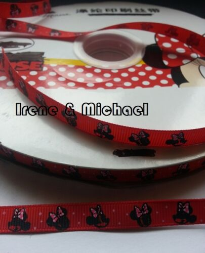 """UK stock Gift Sale 3//8/"""" 9mm Gift wrap Minnie Mouse GROSGRAIN Printed Ribbon"""