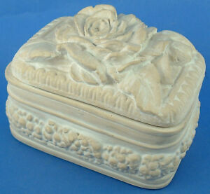 Fleur De Lis White Pottery Relief Rose Trinket Box Ebay