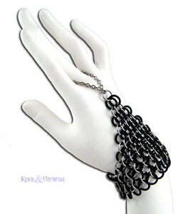 Steel-and-Rubber-Chain-Mail-Slave-Bracelet-Handflower-by-SINPATIKO-Goth