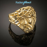 Gold Jesus Face Diamond Cut Ring