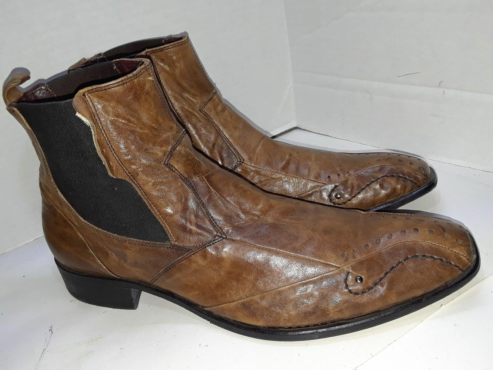 ALDO Brown Leather Chukka Ankle Boots Elastic Sides Mens Size 45