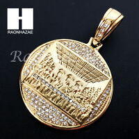 Mens Iced Out Stainless Steel Gold Silver Last Supper Charm Round Pendant Ss005