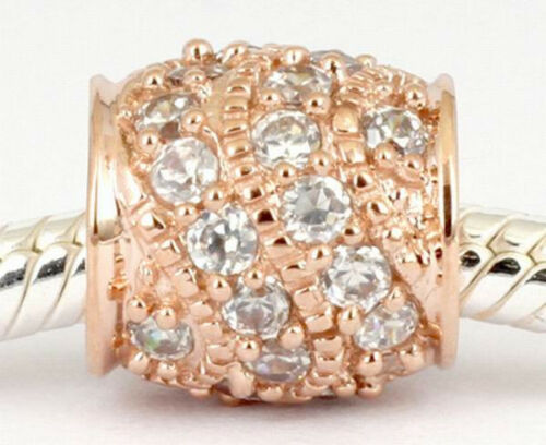 GENUINE 9CT 9K SOLID ROSE GOLD BEAD 32Cz all around For Bracelet Necklace AUST