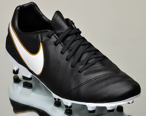 Nike Tiempo Mystic V FG Soccer Cleat Black/White-Metallic Gold 819236 010