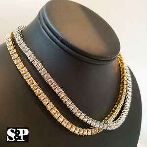 Hip Hop Quavo Choker 20 1 Row Simulated Diamond Tennis Chain Necklace Pendant Jewelry & Watches