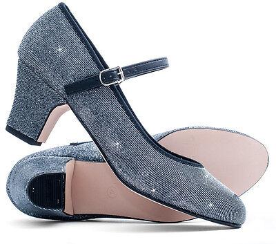 "Ladies Black Graphite Glitter Character Stage Showtime Dance Shoes 2/"" Heel Katz"