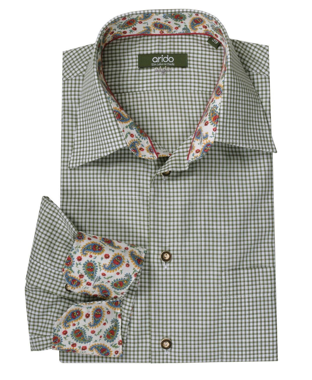 Trachtenhemd Herrenhemd Hemd Arido Herren Grün Karo kariert Slim-Fit