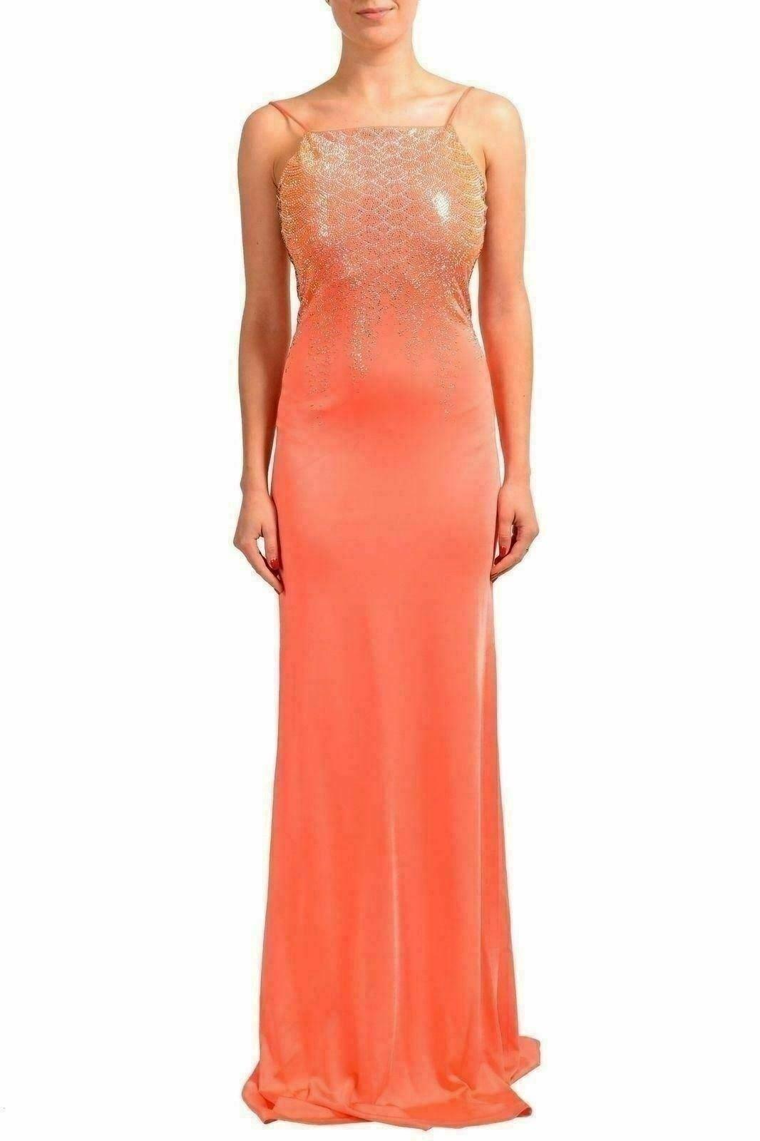 55c239943468 Just Cavalli Arancione Perline Decorato Donna Abito Abito Abito lungo USA S  It 40 3ecd6e